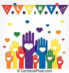 baston, cœurs, gay, soutien, colors., lgbt, droits, mains, ...