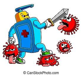 baston, coronavirus, 19, main, sanitizer, covid, épée