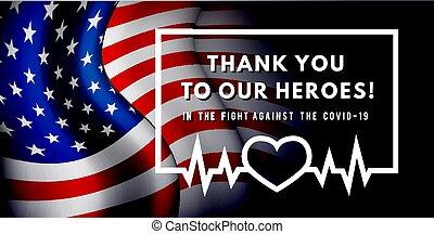 baston, usa, arrière-plan., vecteur, coronavirus., héros, illustration, portion, drapeau, remerciement