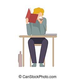 bastonatura, birichino, scrivania, ragazzo, mangiando torta, dietro, scuola, copybook, vettore, illustrazione, seduta