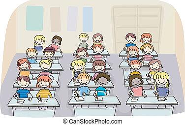 bastone, bambini, in, uno, scrittura, classe