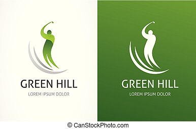 bastone da golf, simbolo, icona, logotipo, elemento