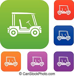 bastone da golf, veicolo, set, colorare, collezione