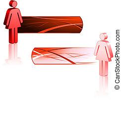 bastone, femmina, bandiere, figure