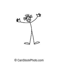 bastone, pagliaccio, figura, felice