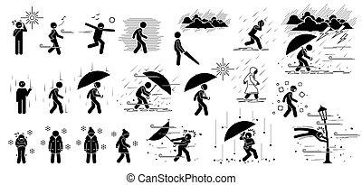 bastone, persone, icons., pictogram, condizioni, figura, clima, tempo, reagire