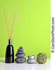 bastoni., legno, zen, freshener, aria, ciottoli, candela, aroma