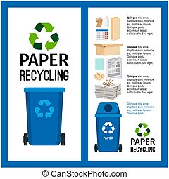 basura, azul, contenedor, información, con, papel