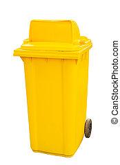 basura, blanco, fondo amarillo, cajones