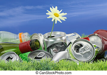 basura, concept., conservación ambiental, margarita, crecer