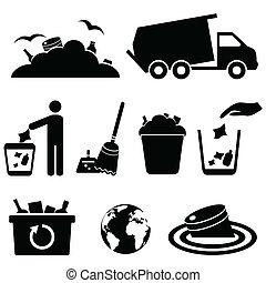 basura, desperdicio, basura, iconos