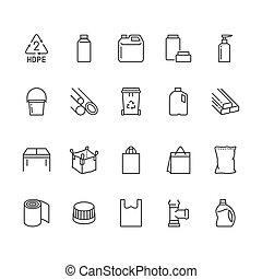 basura, empaquetado, leche, signs., perfecto, contenedor, densidad, jerry, plástico, pixel, delgado, plano, golpes, lata, editable, hdpe, icons., bote, línea, alto, polietileno, vector, productos, tubo, 64x64, jarra, illustrations.