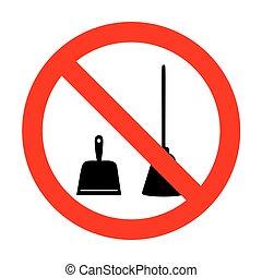 basura, no., equipment., limpieza, no, recogedor, vector, ...
