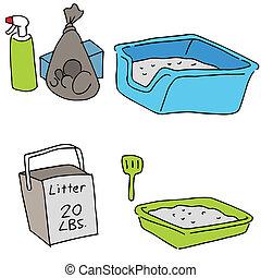 basura, objetos, gato