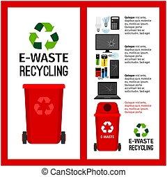 basura, rojo, contenedor, información, con, e-waste
