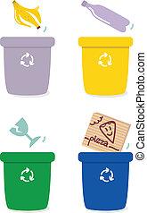 basura, separación, cajas, por, colores, aislado, blanco