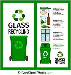 basura, verde, contenedor, información, con, vidrio
