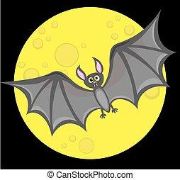 Bat against full moon