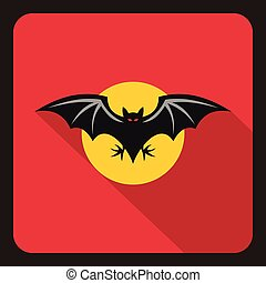 Bat and moon icon, flat style