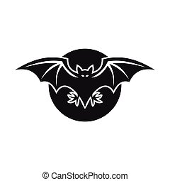 Bat and moon icon, simple style