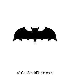 Bat black icon isolated on white background.