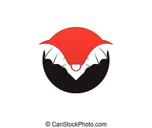 Bat black logo template white background icons app - Bat...