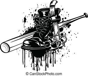 Bat, boot, knife and knuckleduster - Vector illustration bat...