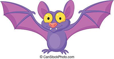 Bat cartoon flying - Vector illustration of Bat cartoon...