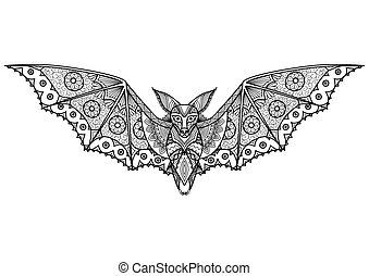 Bat - Clean lines doodle art design for adult coloring book...