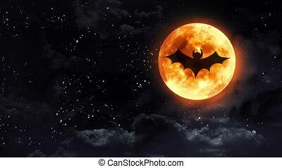 bat clear moon black white