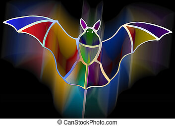 Bat - Colorful bat illustration with clipping path