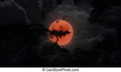 bat dark large moon and thunder - bat shadow at pumpkin...