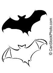 Bat - A black tribal bat tattoo set