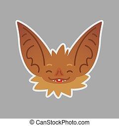 Bat emotional head. Happy emoji. Smiley icon.
