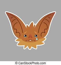 Bat emotional head. Illustration of bat-eared brown creature shows sad emotion. Crying emoji. Smiley icon. Halloween decoration, print, chat, communication. Object with sublayer. Tears. Vector.