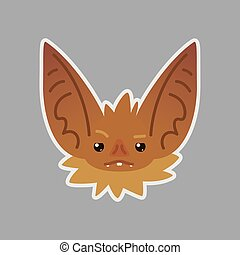 Bat emotional head. Vector illustration of bat-eared brown creature shows distrust emotion. Suspicious emoji.