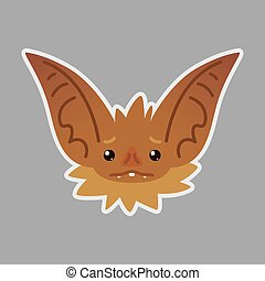 Bat emotional head. Vector illustration of bat-eared brown creature shows emotion.