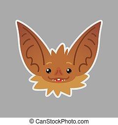 Bat emotional head. Vector illustration of bat-eared brown creature shows Happy emotion. Hope emoji.