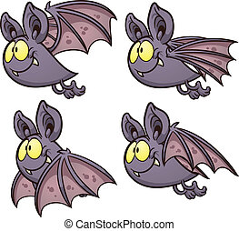 Bat flight cycle. Vector clip art illustration with simple...