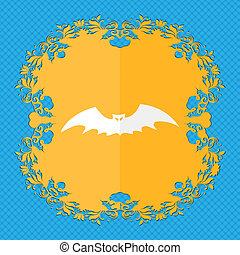 bat. Floral flat design on a blue abstract background with place for your text.