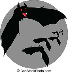 bat fly vector silhouettes