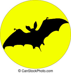Bat - Flying bat and the moon