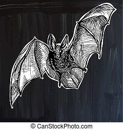 bat - freehand sketching, vector - An hand drawn vector -...