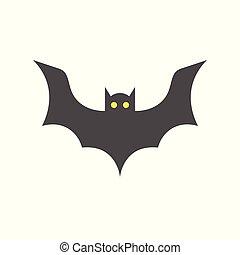 bat, halloween character set icon, flat design