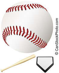 Bat Home Plate & Major League Baseball - A clean, white...