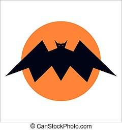 Bat icon on the moon flat and simple vector design