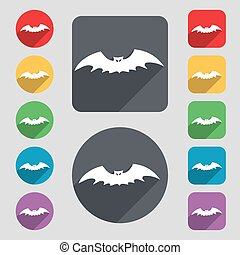 bat icon sign. A set of 12 colored buttons and a long shadow. Flat design. Vector