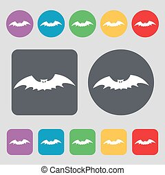 bat icon sign. A set of 12 colored buttons. Flat design. Vector
