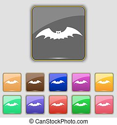 bat icon sign. Set with eleven colored buttons for your site. Vector