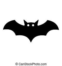 Bat icon, silhouette vector symbol isolated on white background